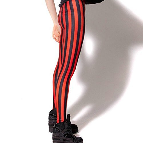 EBILUN Damenmode Rote und Schwarze vertikale gestreifte Gamaschen-Yoga-Sport-Hosen -