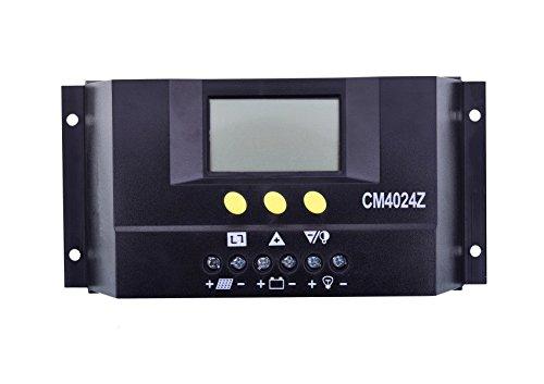 MCTECH Solar-Laderegler 40A PWM LCD Display Solar Panel Regler Solarsteuerung Regler mit Temperatursensor Für Solarmodul Solarpanel Spannungs steuerung (40A)