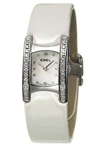 Ebel - Beluga Manchette - 9057A28-1991035439 - Montre Femme - Acier et Diamants - Quartz Analogique - Cadran Index Diamant - Bracelet Satin Blanc 9057A28-1991035439