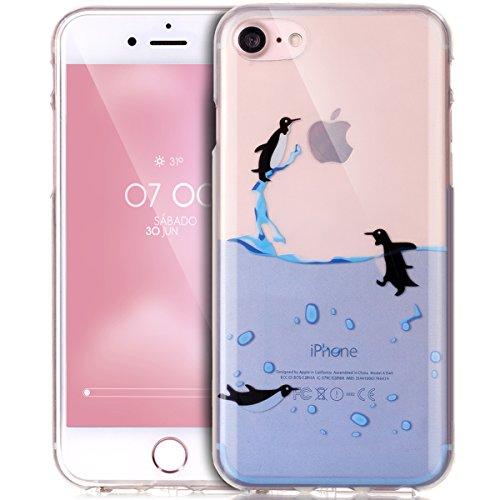 iPhone 7 Hülle,iPhone 7 Schutzhülle,iPhone 7 Silikon Hülle,ikasus® TPU Silikon Schutzhülle Case Hülle für iPhone 7,Durchsichtig mit Bunte Gemalt Muster Handyhülle iPhone 7 Silikon Hülle [Kristallklar  Schwimmende Pinguine