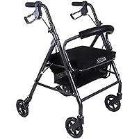 KMINA - Andador KMINA COMFORT 4 Ruedas, Andador para ancianos de 4 ruedas, Andador con asiento para adultos, Andador para mayores de aluminio, Andador para ancianos plegable con 4 ruedas