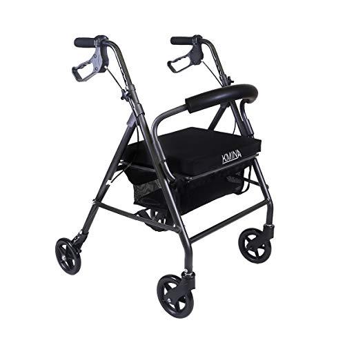 KMINA - Andadores Ancianos 4 Ruedas, Andador KMINA COMFORT 4 Ruedas, Andador 4 ruedas, Andador con asiento para adultos, Andador para mayores de aluminio, Andador para ancianos plegable con 4 ruedas