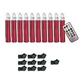 YESDA LED RotKerzen RGB Flammenlose LED Taper Christmas Kerzenlicht Kerzen betrieben, mit Fernbedienung, für Hochzeit, Votiv, Hochzeitsdeko, Partys (10 Stück)