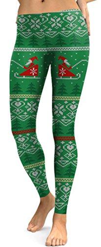 Belsen Damen Leggings schwarz schwarz X-Large Gr. X-Large, Green Santa Claus