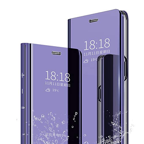 DAYNEW Für Huawei Honor View 20 Hülle Handytasche,Standing Etui Slim Fit Mirror Make-Up Clear View Booklet Case Cover Etui für Huawei Honor View 20-Lila