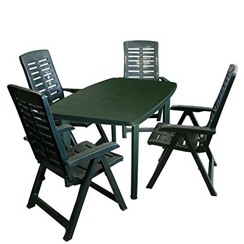 5tlg Gartenmöbel-Set Gartentisch, 101x68cm, Sonnenschirmöffnung + 4X Klappstuhl Yuma – Kunststoff, Grün