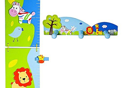 Metro per l'altezza a tema safari per bambini e appendiabiti a tre ganci da parete per la camera di ragazzi o ragazze