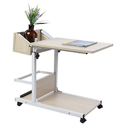 GOTOTP Mobiler Schreibtisch abnehmbar mit Aufbewahrungsbox Beistelltisch aus MDF mit Rollen für Sofa oder Bett Stauraum