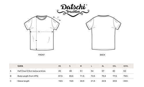 DATSCHI Trachten T-Shirt GRANTLER, Bio Baumwolle, Trachtenshirt Oktoberfest Bayrisch (XXL, Darkgrey-Blau) - 4