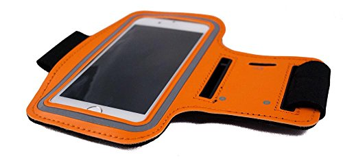 THE CASE MARKET Orange Sport-Armband Gym, Arm-Halter für Iphone, Samsung, HTC, Nokia, Huawei, Sony, LG und andere