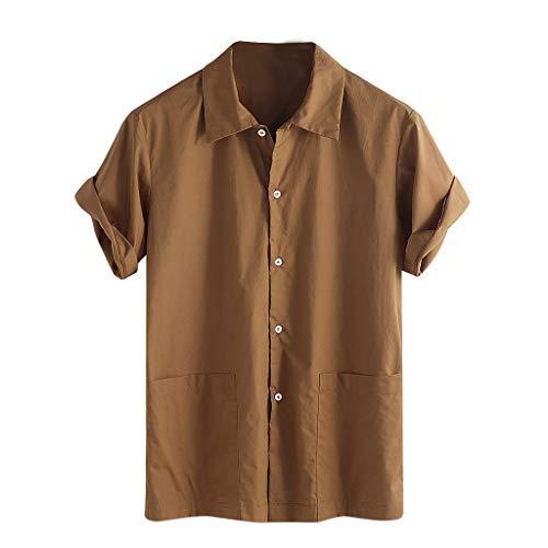 e Baggy Pocket Leinen Solide Kurzarm Retro T Shirts Tops Bluse(X-Large,Braun ()