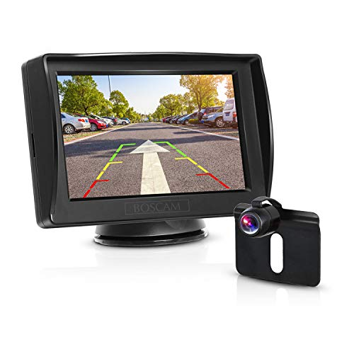 View-kamera-auto (BOSCAM K3 Rückfahrkamera und Monitor Set Wired Einparkhilfe mit Stabiler Signalübertragung, 14.4 cm/4.3