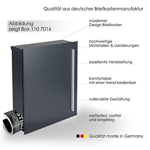MOCAVI Box 110 Design-Briefkasten mit Zeitungsfach anthrazit-grau (RAL 7016) Wandbriefkasten, Schloss rechts, groß, Aufputzbriefkasten dunkelgrau, Postkasten anthrazitgrau modern mit Zeitungsrolle - 3