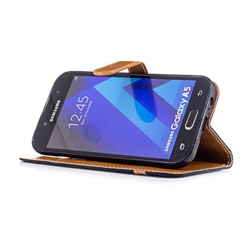 Custodia Galaxy A5 2017, ISAKEN Flip Cover per Samsung Galaxy A5 2017 con Strap, Elegante Bookstyle Contrasto Collare PU Pelle Case Cover Protettiva Flip Portafoglio Custodia Protezione Caso con Suppo Marrone+nero