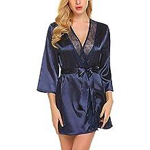 1f363f3be357 Modfine Femme Robe de Chambre Kimono Sexy Peignoir en Satin Manches 3 4  avec Ceinture