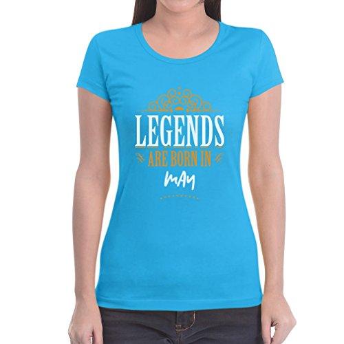 Legends are born in Mai - Geschenke Damen T-Shirt Slim Fit Hellblau