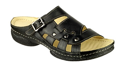 Cotswold Ladies Leach Leather Buckle Fastening Slide Sandals Black Black