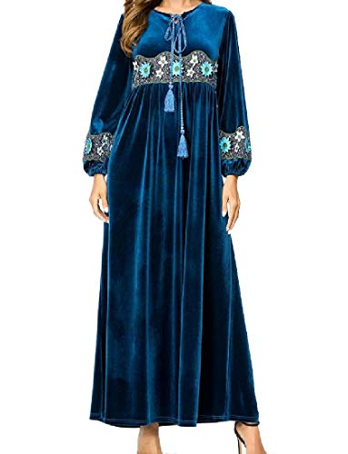 Andopa Damen velour muslim gestickter empire-taille kaftan langes kleid 3XL NavBlu -