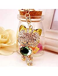 Banggood ELECTROPRIME Crystal Keyring Charm Pendant Bag Key Ring Chain Keychain Fortune Cat Green
