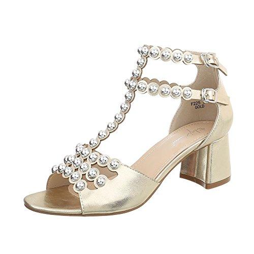 Ital-Design Damenschuhe Sandalen & Sandaletten High Heel Sandaletten Synthetik Gold Gr. 39