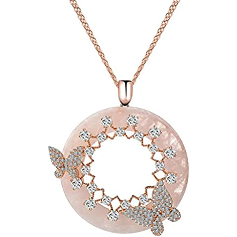 KnSam Donne Placcato in Oro Rosa Per la Collana Farfalla Anello di Onice Rolo Pink Cristallo Zirconia Cubica [Novità Collana]