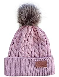 QUICKLYL Sombreros de Punto Bebé Gorro de Gorro Caliente Invierno Cálido  con Bolas Mullidas para Niños Niñas 2 a… 50749d8e548