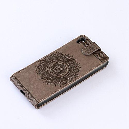 Étui en cuir PU pour Sony Xperia Z3,Vertical Pliable Rabat Shell pour Sony Xperia Z3,Sony Xperia Z3 Flip Cover,Ekakashop Etui avec Motif de Bleu Mandala Retro Tendance Style Portable Coque de Protecti Gris