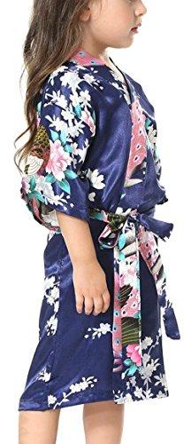 Yiarton Peignoir Enfant Motif Exotique Paon Fleur Kimono Soie Cardigan Robe de Chambre Fille Satin Bleu Foncé