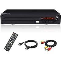 Reproductor de DVD Compacto, Reproductores de CD/DVD / MP3, Puerto HDMI y Cable de Audio RCA para conectar el televisor, múltiples regiones, Puerto USB, Control Remoto