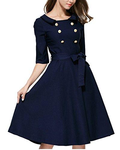 Damen Elegant Abendkleid Rundhals 3/4 Ärmel Cocktailkleid Retro Einreihig Rockabilly 1950er Jahre Party festliche Kleid Navy