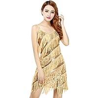 BellyQueen Mujer Vestido Latino Sencillo Tirantes para Danza Clásica Salsa Tango con Lentejuelas y Flecos - Talla Única - Dorado