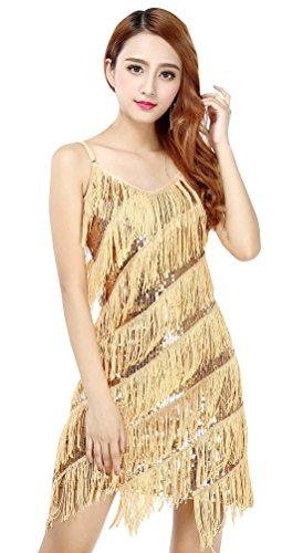 Bellyqueen Damen Tanzkleid Pailletten Dancewear Ein Stück Lateinkleid Quaste Rumbakleid Cha Cha Tanzkleidung Party Wear-Gold