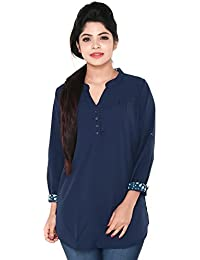 Twist Womens Navy Blue Casual Party Wear 3/4th Sleeve Short Kurti Top With Contrast & Free Shipping