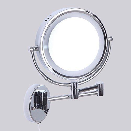 Badezimmer Beleuchtetem Schminkspiegel Beidseitig Ein- Und Ausklappbarer Spiegel Schönheit Lupe Badezimmerspiegel Bronze Make-Up-Spiegel-Led (Bronze-beleuchtete Make-up-spiegel)