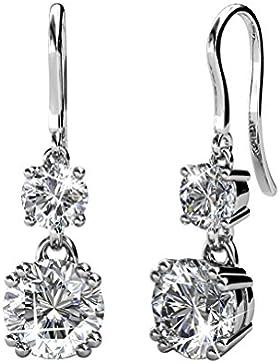 Tropfenform Piercing Ohrringe hängend Set Basic 925 Silber mit Kristallen von echt Swarovski Geschenk für Geliebte...