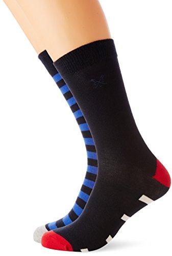 Crew Clothing Herren Socken Mehrfarbig Multicoloured (Navy/White Linen) One size