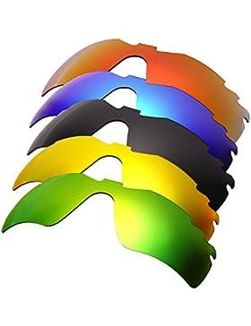 Hkuco Plus Mens Replacement Lenses For Oakley RadarLock-Edge Red/Blue/Black/24K Gold/Emerald Green Sunglasses