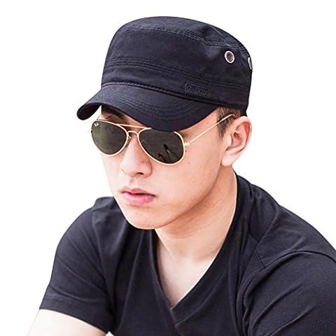 CACUSS Men's Cotton Army Cap Cadet Hat Military Flat Top Adjustable Baseball Cap(Black)
