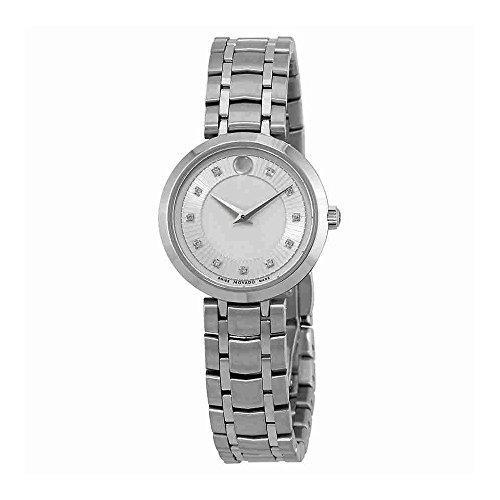 Movado 1881plata diamante Dial Damas Reloj 0607097