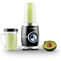 Klarstein Juicinho Nero mixeur sur pied blender compact (pour smoothies, soupes, gaspacho, milkshake, avec 2 gobelets 0,4 L et 0,5 L, 2 sets de lames, puissance de 220 W) - noir