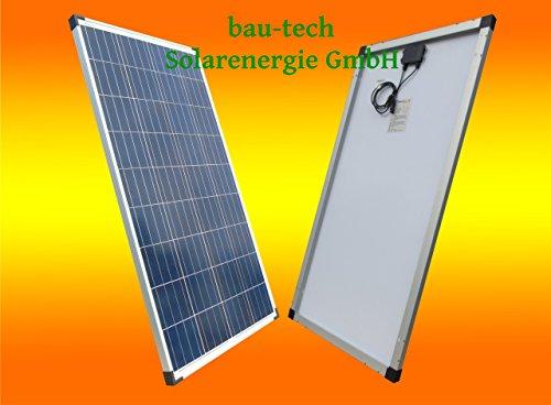 bau-tech Solarenergie 1 Stück 100W Polikristallines Solarpanel 12V Solarmodul Solarzelle 100Watt für Camping, Caravan, Garten GmbH