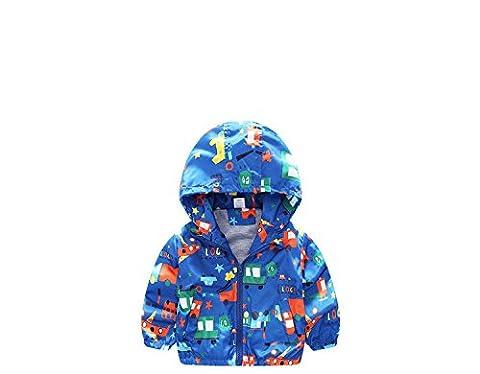 swall owuk Petit Garçon Belle oberbekleidung Imprimer Vestes Manteau avec capuche bleu bleu 110 cm