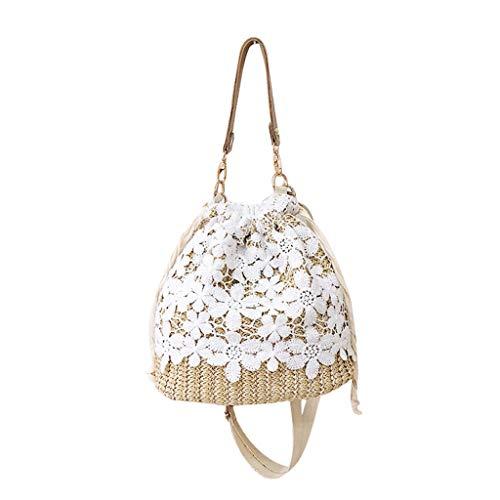 itze UmhäNgetasche Einfarbig Handtasche Gewebt Tasche Strandtasche Frauen Stroh Gewebte Tasche Niedlich Strand Sommer Mini Handtaschen Shopper ()
