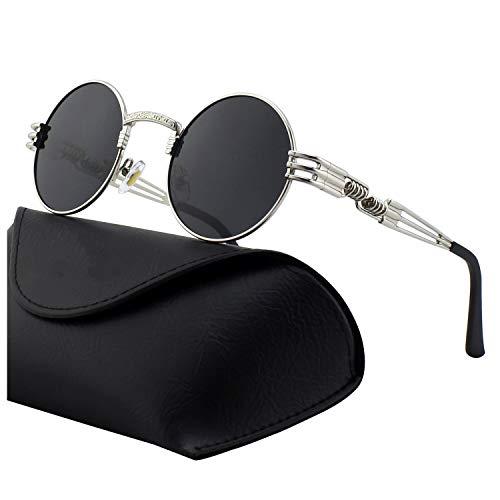 DL-forever Retro Sonnenbrille im Steampunk Stil, runder Metallrahmen, polarisiert, für Frauen und Männer, UV400 (B Silber frame Grau lens)