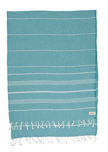 Bersuse 100% Baumwolle - Anatolia XL Decke Türkisches Handtuch - Mehrzweck Bett- oder Sofa-Überwurf, Tischdecke oder als Picknickdecke - Badestrand Fouta Peshtemal - Klassisches gestreiftes Pestemal - 155 X 210 cm, Aqua Blau