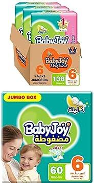 BabyJoy Compressed Diamond Pad, Size 6, 198 Diapers (1 Giant Box + 1 Jumbo Box)