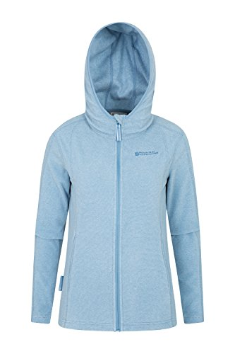 Mountain Warehouse Hebridean Damen Kapuzenpullover Fleece Hoodie Kapuzenjacke Reißverschluss warm bequem weich, Frühling Blau DE 38 (EU 40) -