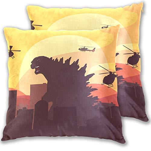 Jereee Godzilla Dinosaurier-Kissenbezüge, dekorativ, 40,6 x 40,6 cm, doppelseitiger Druck, Schutz-Set für Dekoration, Kissen, Auto, Reise, Flugzeug (2 Stück), Multi, 41 x 41 cm