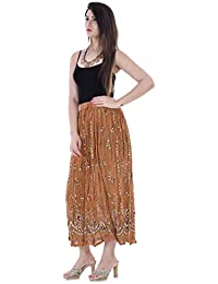 Handicraft-Palace Sequins Skirt Boho Belly Dance Hippie Gypsy Rayon Maxi Skirts Women's Long Sequin Skirt (Brown)
