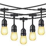 Minger 15M LED Lichterkette für Außen, wasserdichtes dimmbares Licht, mit 15 Vintage Edison-Birnen 2W und 1 Ersatzbirne, Handelsqualität, hängendes Licht für Patio Portal Garten Dekorationen